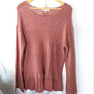 Knox Rose Blush Faux Layer Sweater Large